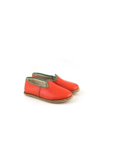 Aintap %100 Hakiki Deri Çocuk Ayakkabı Noel Kırmızı Gaziantep Yemeni Kırmızı